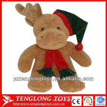 Plush Christmas toys and stuffed plush moose with a scarf and hat