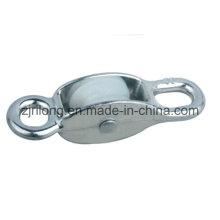 Dois gancho de liga de zinco polia com uma única roda de nylon