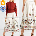 Saia de algodão bordada Midi manufatura atacado moda feminina vestuário (TA3038S)