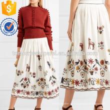 Gestickte Baumwolle Midi Rock Herstellung Großhandel Mode Frauen Bekleidung (TA3038S)