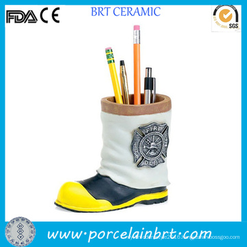 Mini Fireman Boot Ceramic Kids Pencil Holder