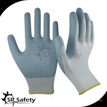 SRSAFETY 13 калибра трикотажные нейлоновые покрытые серые перчатки из натурального пенопласта, дышащая безопасность