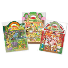 Creativos personalizados princesa Farm Safari Pirata reutilizable puffy Sticker Play Sets