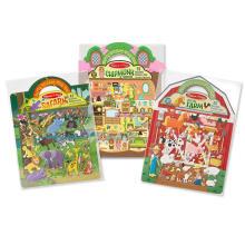 Пользовательские Творческий Принцесса Ферма Сафари Пират Многоразовые Пухлые Наклейки Play Set