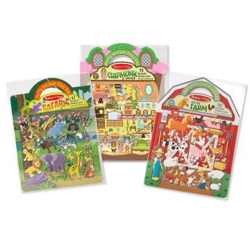 Criativo personalizado princesa fazenda safari pirata reutilizável puffy adesivo play sets