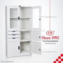 Chinese CRS swing door drawer steel storage cabinets in Dubai glass door display cabinet with adjustable shelves