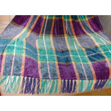 Printed Checked Chenille Throw