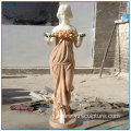Peaceful European Life Size Mix Color Marble Maid Statue