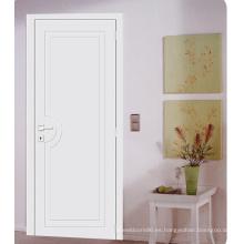 Puerta de la sala fuerte para la casa, puerta pintada económica blanca, puertas rasantes con esqueleto de madera blanda