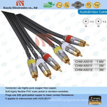 GOLD-plated 3 RCA Component AV Cable for audio and video 1.5 m cable.