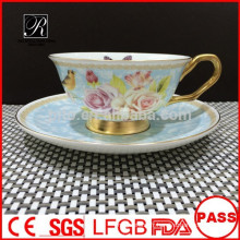 Fabrication de porcelaine PT Ensemble de café Bone China, tasse et soucoupe