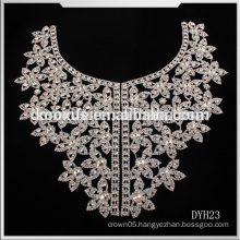 Latest Shinning Crystal Rhinestone trim Applique/crystal trim necklace for wedding dress lace