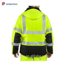 Fashion Winderproof ANSI Class 3 Visibility 3m Reflective Safety Jacket,High Visibility Quilt Lined Rain Jacket