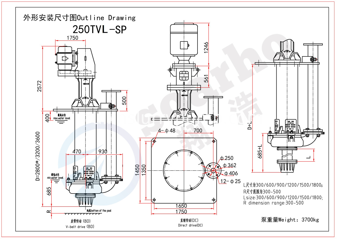 250mm Size Lenthening Sump Pump