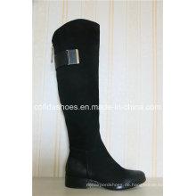 Neue elegante Low Heel Lady Leder Stiefel