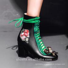 100 процентов кожа сандалии сапоги с высоким thiick