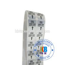 adesivo de código de barras adesivo tipo de etiqueta personalizado em branco mate prata PET etiqueta de transferência de calor