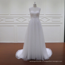 Простой плиссированные тюль и кружева украшения западное платья партии платья 2016 свадебное платье
