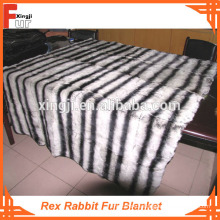 Gefärbt in Chinchilla-Design Rex Rabbit Fur Blanket