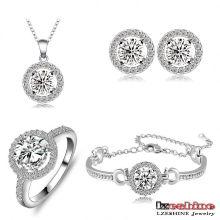 Oro blanco plateado corazones y flechas Conjuntos de joyería femenina (CST0019-B)
