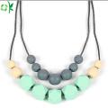 BPA-freie Silikon-Zahnen-Perlen-Halskette für Baby