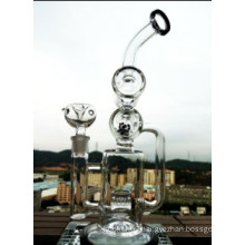 Cyclone Helix Water Pipe Intricate Double Recycler Glass Smoking Pipe Helix Perc Oil Rig New Perculator Rig Sofig Glass Water Pipe Wholesale