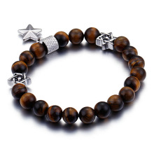 Mens tiger eye bead star of david bracelet