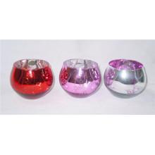Porte-bougie en verre argenté plaqué argent