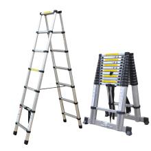 2019 hot selling aluminium joint A shape telescopic ladder 2.5+2.5 m