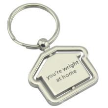 Souvenir promotionnel Deboss Engrave Logo Keychain en forme de maison (F1079)