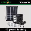 Sistema de iluminação solar de campismo portátil em casa com painel solar de 5W