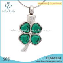 Green crystal memorial ashes pendant,silver cremation ashes keepsake