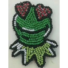 5 colors frog embroidery machine beaded patch