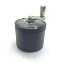 Leichte tragbare schwarze Aluminium Kräutermühle mit Handkurbel (ES-GD-016)