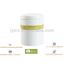 11*13cm white ceramic canisters with silicone band,different printing to reflect contents