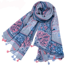 Hot selling bohemia style summer tassels scarf cotton voile printed flower scarf pakistani scarf hijab