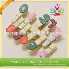 2016 Mode Weihnachten Alibaba China Lieferant dekorative Anzahl Clips Holz Clip Büroklammer