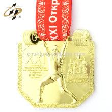 Nuevo producto 10 cm caso personalizado levantamiento de pesas correr campeón de deportes oro medallón medalla de esmalte duro