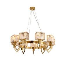 Popular Luxury Rectangle Elegant Modern Circular Decoration Simple Led Ring Crystal Chandelier