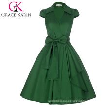 Grace Karin Cap manga cuello de la solapa de cuello en V Vintage retro de alta tensión verde CL008953-6
