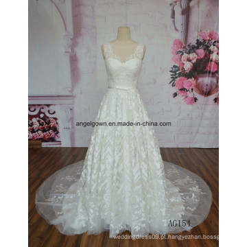 V Neck 2016 Hot Sale Vestido De Noiva Lace Applique Long Train Vestido De Noiva