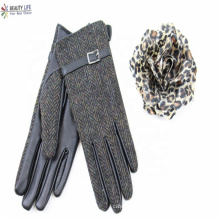 hotsale cheap polyester Herringbone fabric + black PU leather palm fashion gloves with polyester  lining