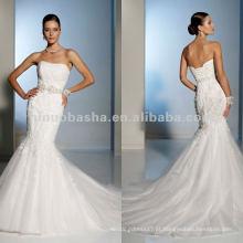 Picos delicados de renda dentro e fora do vestido de casamento puro de tule