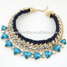 Wedding Gift Jewelry Blue Gemstone Water Drop Glass Alloy Chunky Collar Crystal Necklace