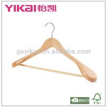Cabide de madeira com barra redonda e ombro largo