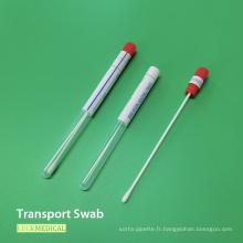 Écouvillon de transport d'échantillonnage en plastique PS avec tube