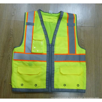 100% Polyester 300d Oxford Fabric in Front, Back with 120+-6g Mesh Fabric Safety Vest