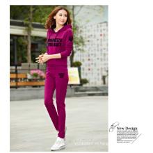 Lady S Print Sudaderas con capucha y pantalones OEM en ropa deportiva
