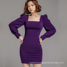 Cross-border women 2020 spring and autumn ladies temperament bubble sleeves slim sexy professional dress for office lady
