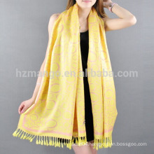 Reversible jacquard lucky circle viscose scarf pashmina